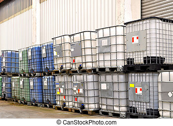 Chemical container - Chemical bulk container in a warehouse