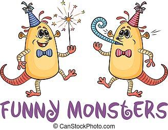 Cartoon Party Monsters Set - Set of Cute Cartoon Monsters,...