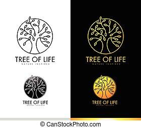 Tree Logo Concept Monogram - Monogram Tree Logo Concept with...