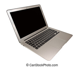 Modern Slim Laptop cut out on White Background - Modern...