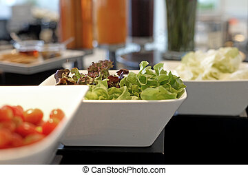 vegetables salad bar on buffet line - healthy food,...