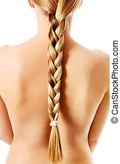 Braid Hairstyle. Blond Long Hair close up. Healthy Hair
