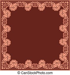 Pink lace frame - Elegant pink lace frame on a maroon...