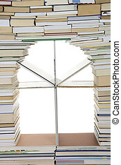 book - window  from made books on white background