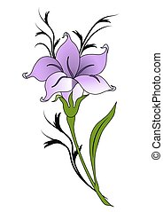 Decorative lily flower. Ornament.