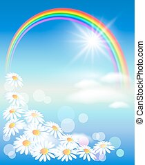 Rainbow with flowers and sun in the sky