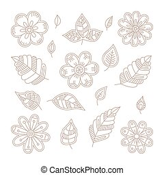 Vector vintage floral design elements set in mono line style