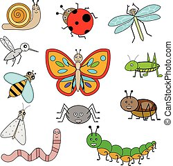 Insects in cartoon style. Vector illustration, design elements
