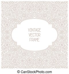 Vector vintage floral frame on white background in mono thin...