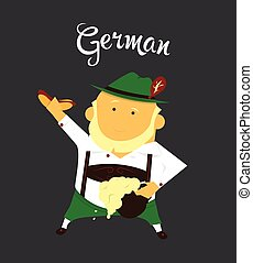 German man or character, cartoon, citizen of Germany in national clothing