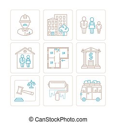 Set of vector real estate icons and concepts in mono thin...
