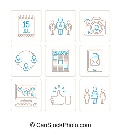 Set of vector social networking icons and concepts in mono thin line style