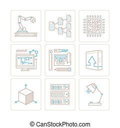 Set of vector technology icons and concepts in mono thin...