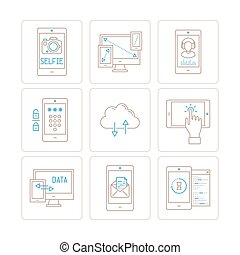 Set of vector mobile tech icons and concepts in mono thin...