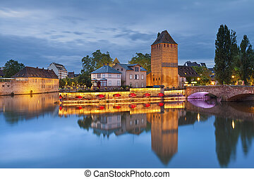 Strasbourg. - Image of Strasbourg old town during twilight...