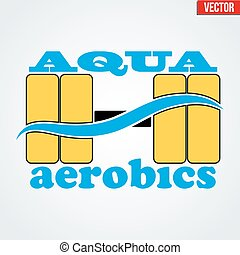 Symbol of Aqua Aerobics and Aqua Fitness. Vector...
