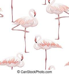 Pink flamingo seamless pattern - Hand drawn pink flamingo...