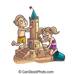 Summer fun sand castle. Cute cartoon little Happy kids Boy...