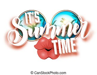 Summer lettering design with sunglasses and kissing full...