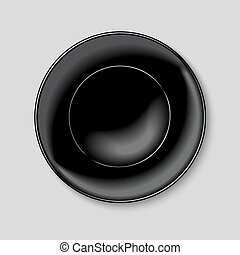 Black round plate isolated on white background