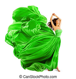 Fashion Model Hair Waving on Wind, Young Woman Posing In...