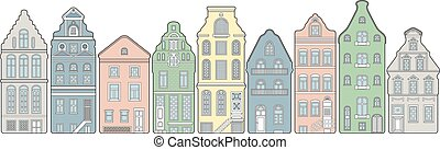 Old town street houses - Old town street in Europe with cute...