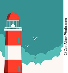 Lighthouse posterVector seascape background for text