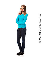 Young woman standing with toothy smile - Happy teen woman...