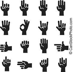 Hands icons set finger counting, stop gesture, devil horns,...