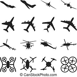 Aircrafts, helicopters, drones black vector icons. Set of...