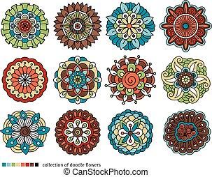 Spring doodle flower set - Spring floral doodle elements....