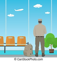 Airport , Waiting Room with Man in Uniform - Man in Uniform...