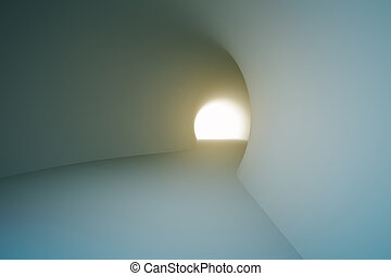 Grey tunnel with bright light at the end. 3D Rendering