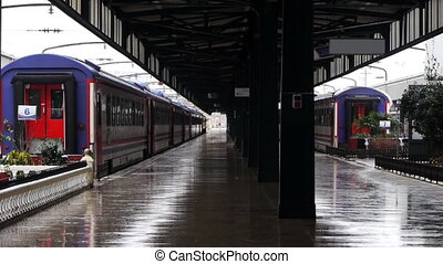 Wet rail station platform