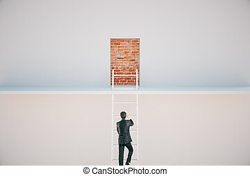 Freedom concept - Businessman climbing ladder to escape from...