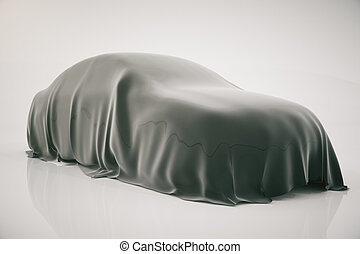 Car covered with vail - Car covered with grey veil on light...