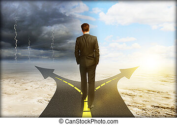 Success concept with thoughtful businessman standing on...