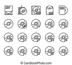 cd disc icons - Black cd disc icons a white background