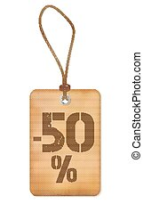 Big Sale 50% Paper Old Label Vector Illustration
