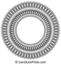 Circle Geometric Ornament Isolated on White Background...