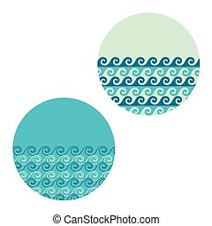 vector wave in circle set