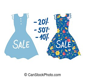 Summer sale banner with dresses for women.