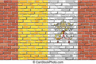 Mosaic flag of Vatican City - Flag of Vatican City on brick...