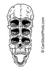 Terrible frightening skull. Creepy illlustration for...