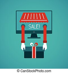 Internet sale vector concept in flat style