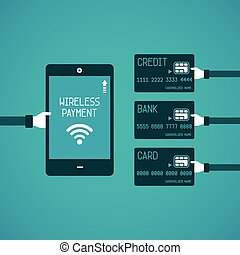 Wireless payment vector concept in flat style