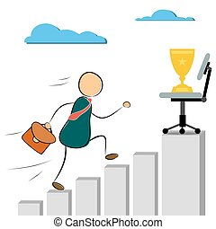 Businessman run to success cup - Vector illustration...