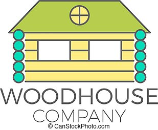 Vector wood house logo design, real estate icon suitable for...