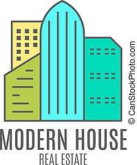Vector modern house logo design, real estate icon suitable...