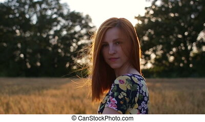 Portrait of Pretty Woman at Sunset - Portrait of Pretty...
